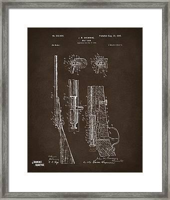 1899 Browning Bolt Gun Patent Espresso Framed Print
