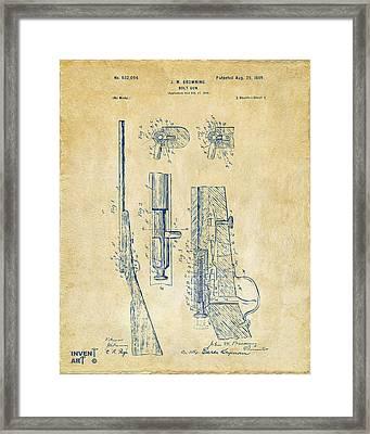 1899 Browning Bolt Gun Patent Vintage Framed Print