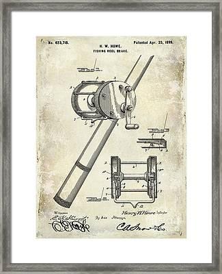 1899 Fishing Reel Brake Patent Drawing Framed Print by Jon Neidert
