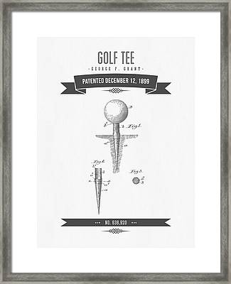 1899 Golf Tee Patent Drawing - Retro Gray Framed Print