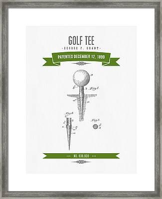 1899 Golf Tee Patent Drawing - Retro Green Framed Print