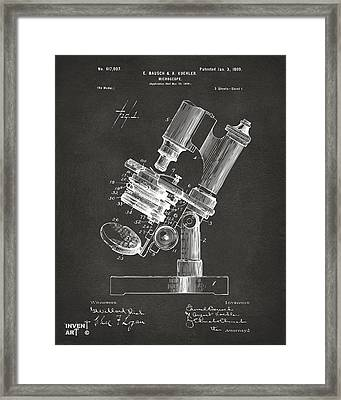1899 Microscope Patent Gray Framed Print
