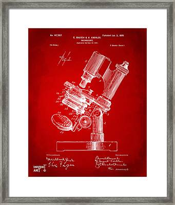 1899 Microscope Patent Red Framed Print