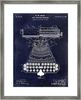 1899 Type Writer Patent Drawing Blue 2 Framed Print