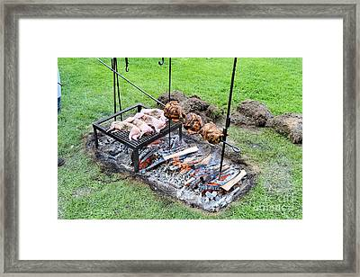 18th Century Style Camp Cooking Framed Print by Ross Sharp