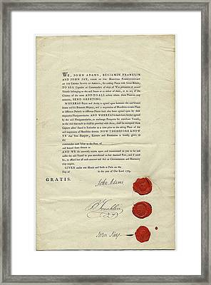 18th Century Us Ship's Passport Framed Print by American Philosophical Society