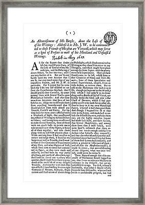 Robert Boyle (1627-1691) Framed Print by Granger