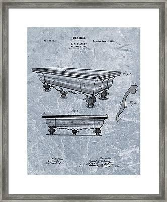 1900 Billiards Table Patent Blue Framed Print
