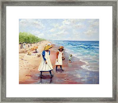 1900 Collecting Sea Shells Framed Print by Marie Green
