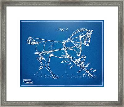 1900 Horse Hobble Patent Artwork Framed Print by Nikki Smith