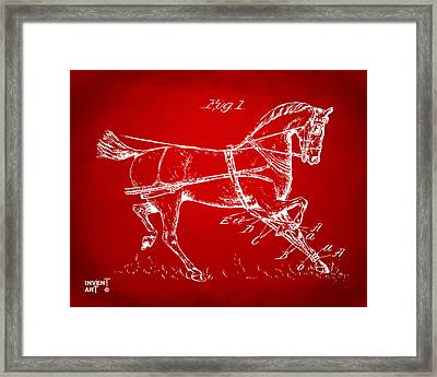 1900 Horse Hobble Patent Artwork Red Framed Print by Nikki Marie Smith