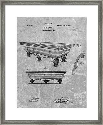 1900 Pool Table Patent Framed Print