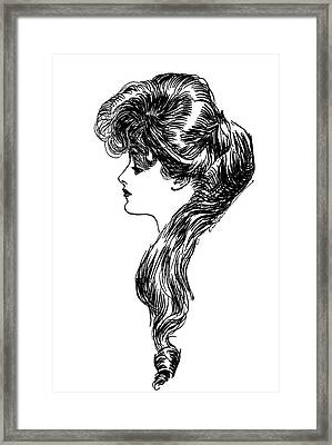 1900s 1898 Profile Sketch Turn Framed Print