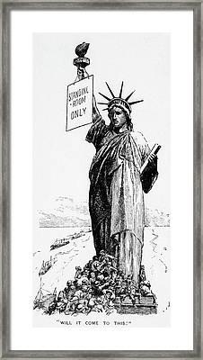 1900s 1906 Cartoon Statue Of Liberty Framed Print