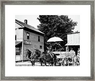 1900s Drawn Farm Wagon At General Store Framed Print