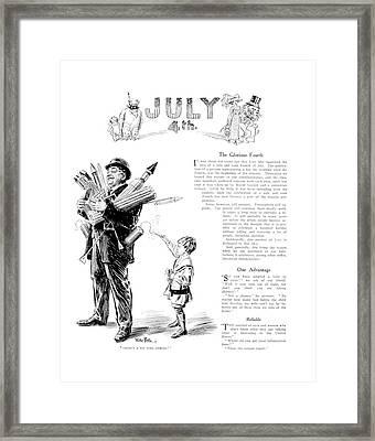 1900s Illustration Fourth Of July Boy Framed Print