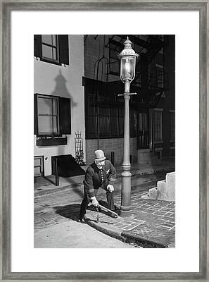 1900s Man Keystone Cop Uniform Standing Framed Print