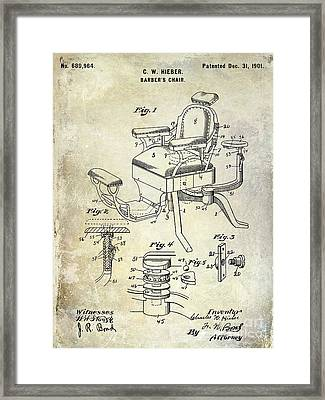 1901 Barber Chair Patent Drawing  Framed Print by Jon Neidert