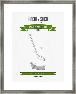 1901 Hockey Stick Patent Drawing - Retro Green Framed Print by Aged Pixel