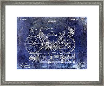 1901 Motorcycle Patent Drawing Blue Framed Print