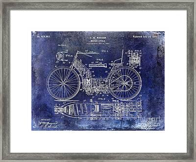 1901 Motorcycle Patent Drawing Blue Framed Print by Jon Neidert