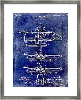 1901 Wind Musical Instrument Patent Drawing Blue Framed Print by Jon Neidert