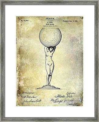 1901 Wine Glass Design Patent Framed Print by Jon Neidert