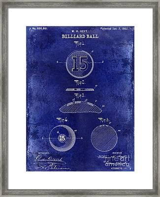 1902 Billiard Ball Patent Drawing Blue Framed Print by Jon Neidert