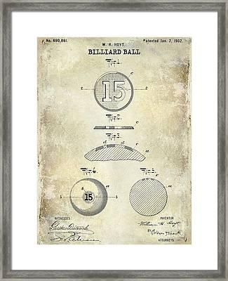 1902 Billiard Ball Patent Drawing Framed Print by Jon Neidert