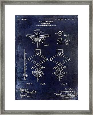 1902 Corkscrew Patent Blue  Framed Print