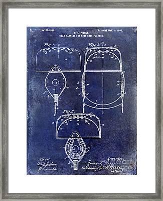 1902 Football Helmet Patent Drawing Blue Framed Print by Jon Neidert