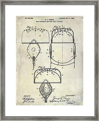 1902 Football Helmet Patent Drawing Framed Print by Jon Neidert