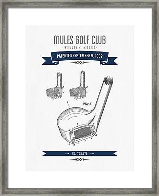 1902 Mules Golf Club Patent Drawing - Retro Navy Blue Framed Print by Aged Pixel