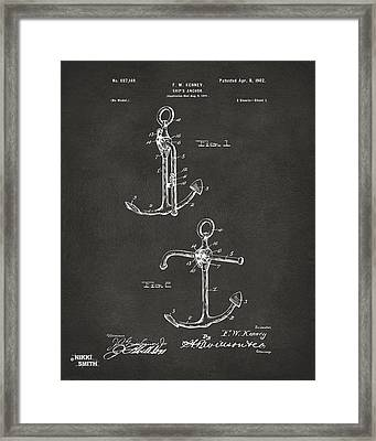 1902 Ships Anchor Patent Artwork - Gray Framed Print by Nikki Marie Smith