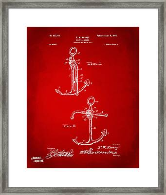 1902 Ships Anchor Patent Artwork - Red Framed Print by Nikki Marie Smith