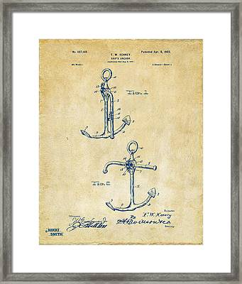 1902 Ships Anchor Patent Artwork - Vintage Framed Print by Nikki Marie Smith