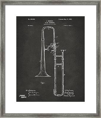 1902 Slide Trombone Patent Artwork - Gray Framed Print