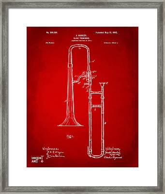 1902 Slide Trombone Patent Artwork Red Framed Print by Nikki Marie Smith