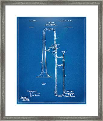 1902 Slide Trombone Patent Blueprint Framed Print