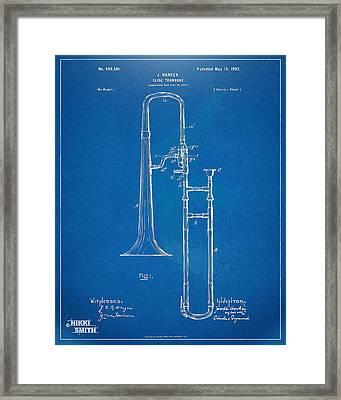 1902 Slide Trombone Patent Blueprint Framed Print by Nikki Marie Smith