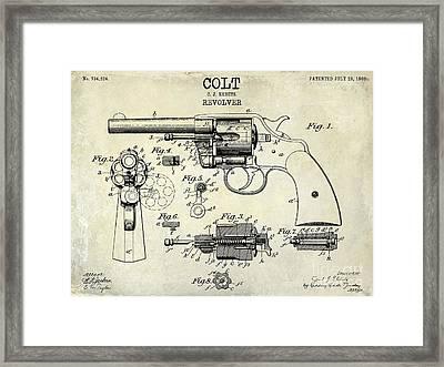 1903 Colt Revolver Patent Drawing Framed Print