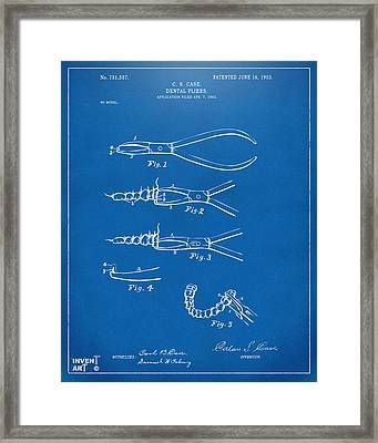 1903 Dental Pliers Patent Blueprint Framed Print by Nikki Marie Smith