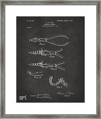 1903 Dental Pliers Patent Gray Framed Print