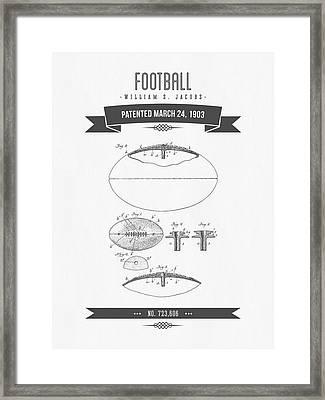 1903 Football Patent Drawing - Retro Gray Framed Print