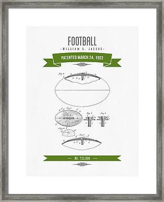 1903 Football Patent Drawing - Retro Green Framed Print