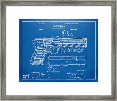 1903 Mcclean Pistol Patent Artwork - Blueprint Framed Print