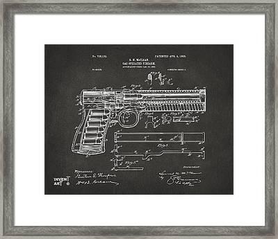 1903 Mcclean Pistol Patent Artwork - Gray Framed Print by Nikki Marie Smith