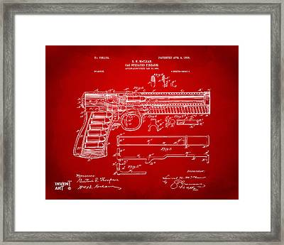 1903 Mcclean Pistol Patent Artwork - Red Framed Print