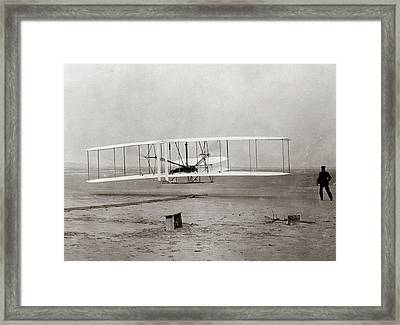 1903 Wright Brothers Plane Taking Framed Print