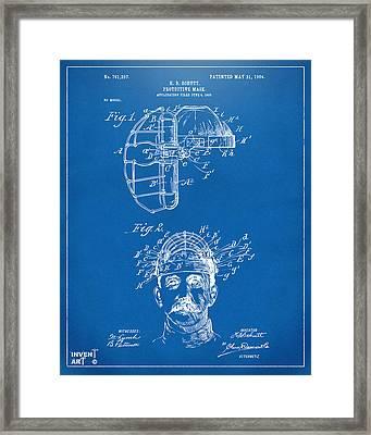 1904 Baseball Catchers Mask Patent Artwork - Blueprint Framed Print
